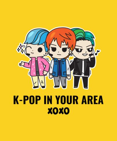 T-Shirt Design Maker Featuring Cartoonish K-Pop Illustrations 2199
