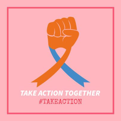 Facebook Post Maker for Cancer Awareness Day Featuring an Illustrated Fist with a Ribbon 2026o 2175