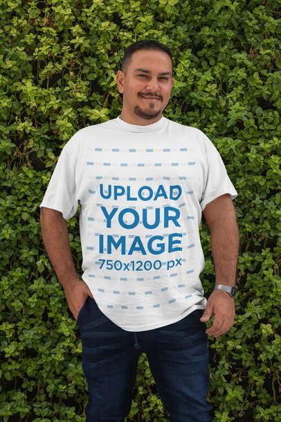Mockup of a Smiling Man Wearing a Plus Size T-Shirt 31050