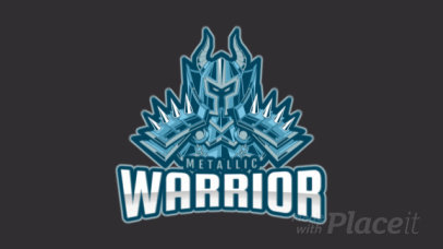Animated Gaming Logo Template Featuring a Medieval Warrior in a Metal Armor 2651h-2880