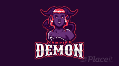 Animated Gaming Logo Template Featuring a Female Demon Vampire Illustration 2499ll-2889
