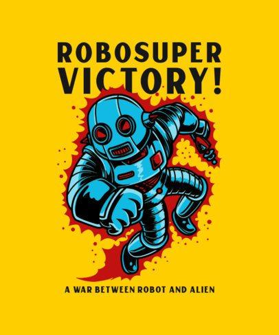 T-Shirt Design Template Featuring a Flying Robot 234e-el1