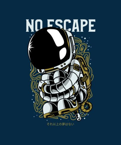 Illustrated T-Shirt Design Template with a Solitary Astronaut 234f-el1