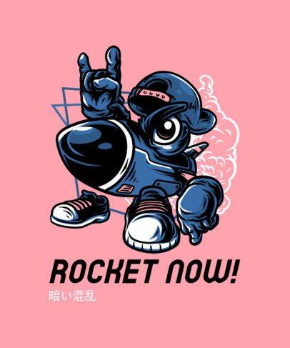 Urban-Styled T-Shirt Design Generator Featuring a Rocket Cartoon Character 244h-el1