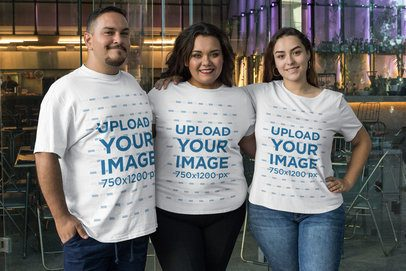 Plus Size Tee Mockup Featuring a Group of Smiling Friends 31073
