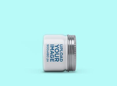Mockup of a Jar Placed Sideways Featuring a Customizable Background 2549-el1