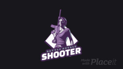 Battle Royale-Themed Animated Logo Maker Featuring a Female Character Holding a Rifle 1847r-2883