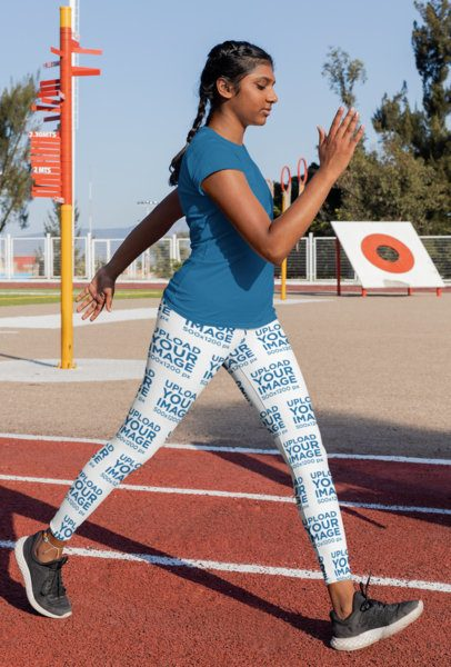 Mockup of a Young Woman with Leggings at a Running Track 31346