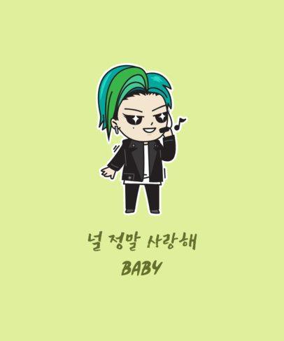 Illustrated T-Shirt Design Maker Featuring a Cool K-Pop Singer Cartoon 2199g