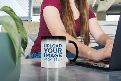 11 oz Magic Mug Mockup Featuring a Woman at Work 31592