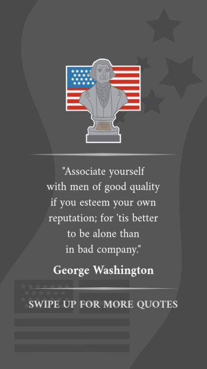 Presidents Day Instagram Story Maker Featuring a George Washington Bust 2203b