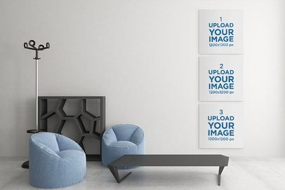 Mockup of Three Squared Canvas on the Wall of an Elegant Living Room 2502-el1