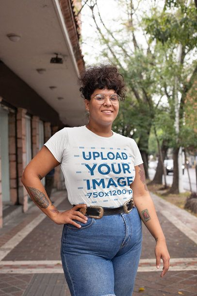 Mockup of a Woman Wearing a Plus Size Tee with High Waisted Jeans 30888