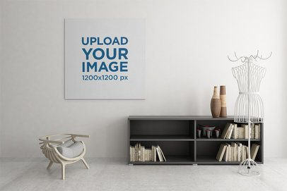 Canvas Mockup Featuring an Art Print Hanging on a Modern Room's Wall 2503-el1
