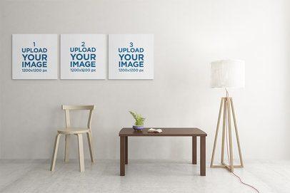 Art Print Mockup of Three Squared Canvas Hanging on a Modern Room 2504-el1