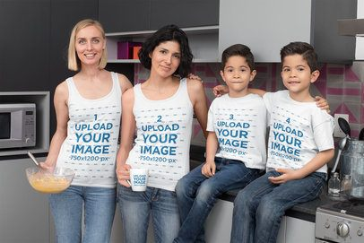 T-Shirt and Tank Top Mockup Featuring a Family with Two Moms Preparing Breakfast 31409