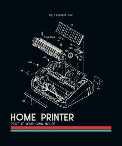 T-Shirt Design Maker Featuring a Retro Typewriter's Parts Diagram 245a-el1