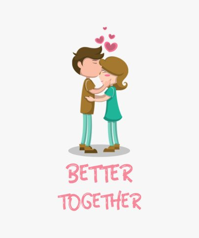 Valentine's Day T-Shirt Design Maker Featuring a Sweet Couple Illustration 649-el1