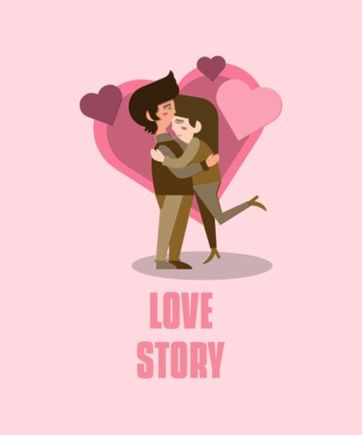 T-Shirt Design Generator for Valentine's Day With a Loving Couple Illustration 649c-el1