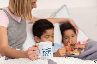 Coffee Mug Mockup Featuring a Single Mom with Her Kids 31421