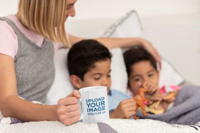 Coffee Mug Mockup Featuring a Single Mom with Her Kids 31421