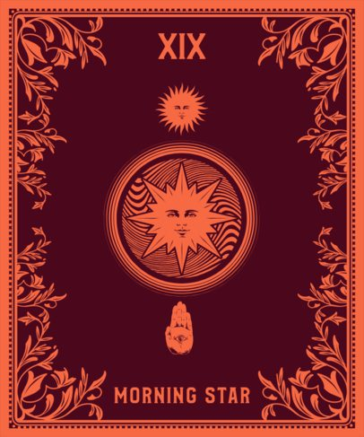Tarot T-Shirt Design Generator Featuring the Sun Card 2196b