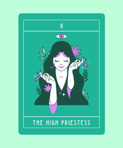 Tarot T-Shirt Design Template With a Modern High Priestess Illustration 2198a