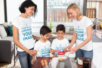 T-Shirt Mockup Featuring Two Moms and Their Twin Boys Baking 31405