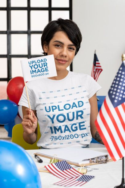 T-Shirt Mockup of a Woman Holding a Flag at a Political Polling Station 31944