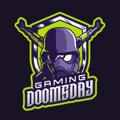 Gaming Logo Maker Featuring a Masked Character with Crossed Rifles 2898h
