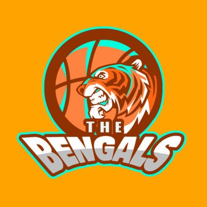 Sports Logo Generator for Basketball Teams With an Angry Tiger Graphic 336u-2932