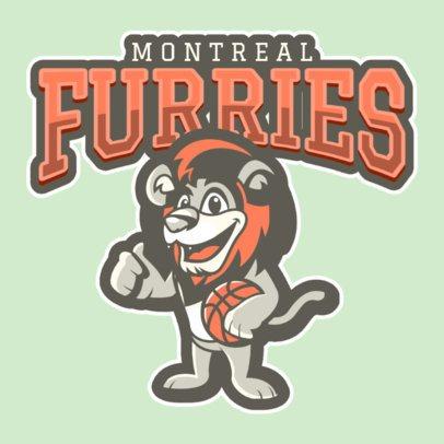Basketball Logo Maker Featuring a Friendly Lion Mascot 120ss-2934