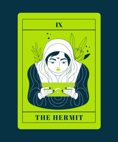 Tarot T-Shirt Design Generator With a Female Hermit Illustration 2198e