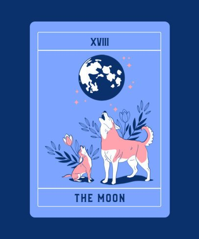 Illustrated T-Shirt Creator with the Moon Tarot Card Graphic 2198g