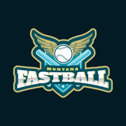 Sports Logo Featuring a Winged Baseball Ball 172ww-2936
