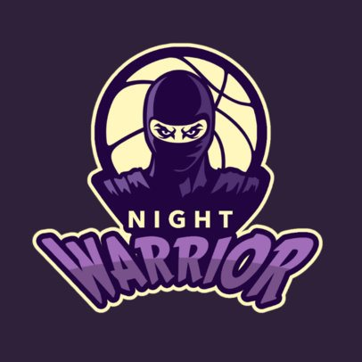 Basketball Logo Maker with a Ninja Warrior Character 336q-2935
