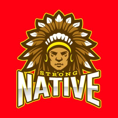 Logo Template Featuring a Native American Chief Illustration 1749q-2932
