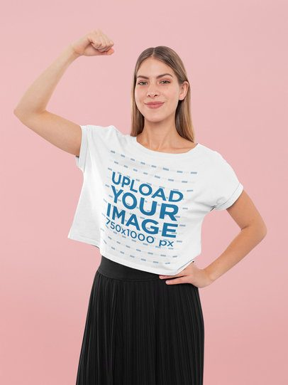 Crop Top Mockup Featuring a Woman Proudly Raising Her Arm 31965