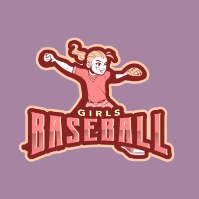 Illustrated Baseball Logo Template Featuring a Female Player 172ii-2935