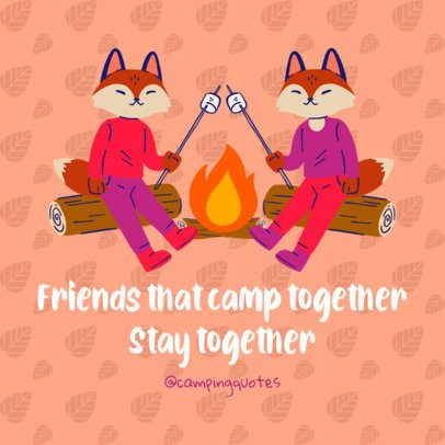 Instagram Post Template Featuring Two Foxes by a Bonfire 2239a