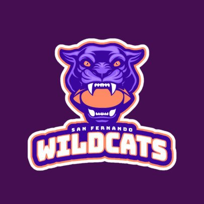 Sports Logo Maker Featuring a Wildcat with a Football Ball in its Mouth a245xx-2936