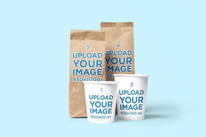 Mockup of Two Coffee Bags and Two Coffee Cups in a Minimalistic Scenario 2632-el1