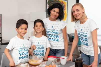 T-Shirt Mockup Featuring a Close Two-Mom Family and Their Twin Kids 31407