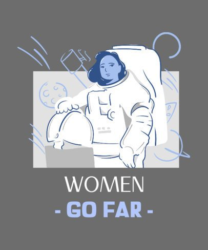 Women's Empowerment T-Shirt Design Maker Featuring a Female Astronaut 2194e