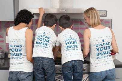 Back View Mockup Featuring Two Moms Wearing Tank Tops and Their Kids Wearing T-Shirts 31415