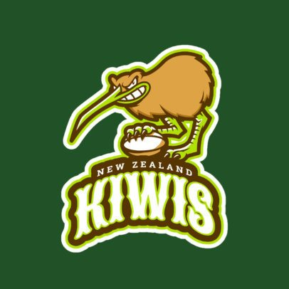 Sports Logo Template Featuring a Fierce Kiwi Bird 1616n-2932