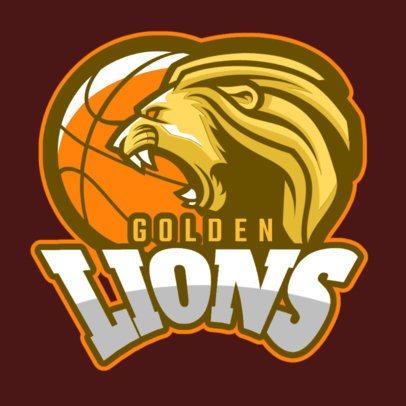 Basketball Logo Maker Featuring a Roaring Golden Lion 336v-2937