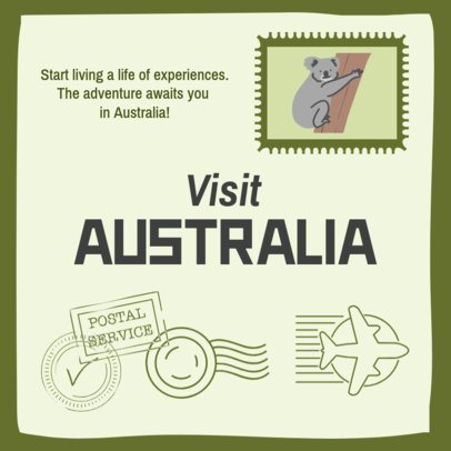 Instagram Post Creator Featuring a Koala Stamp and a Travel Quote 2235e