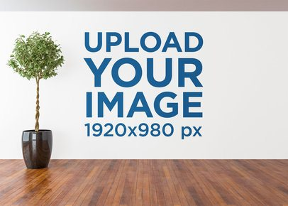 Art Print Wall Mockup Featuring a Room with an Indoor Plant 2713-el1