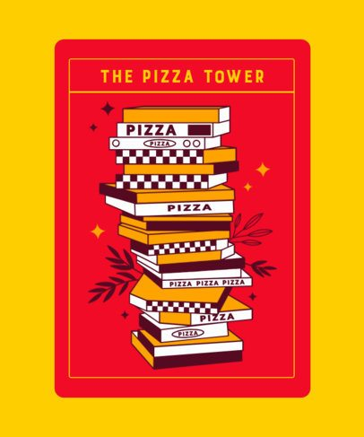 Tarot T-Shirt Maker with a Funny Pizza Illustration 2198l